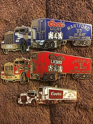 Colorado Jaycees Coors Light/Coors 18 Wheeler '81, '82 & '83 Collector Pins-BE62