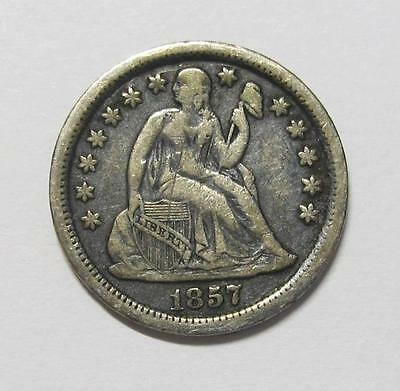 1857 U.S. Seated Liberty Dime * Better Grade * 90% Silver * No Reserve