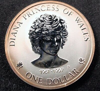 1997 Perth Mint .999 Silver.. Diana Princess Of Whales Cook Island Coin Rare.
