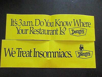 Pair of bumper stickers from Denny's Restaurant