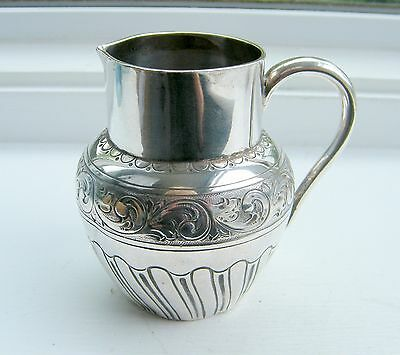 Antique Circ 1889 John Newton Mappin London Silver Cream/Milk Decorated Jug