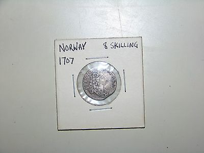 1707 Norway 8 Skilling Silver Coin