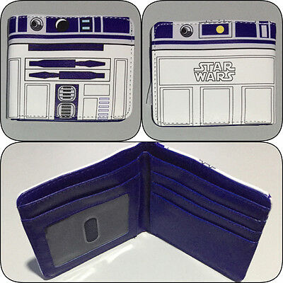 Star Wars R2-D2 Bi-Fold Wallet Mens Boys Photo ID Card Bifold R2D2 Blue & White