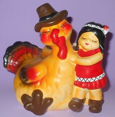 "Vintage Thanksgiving Planter Turkey & Indian Girl 6"" x 6"" Weighs 2 Lbs"