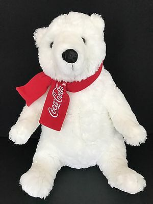 Coca-Cola White Polar Bear Plush Stuffed Animal Red Scarf 16""