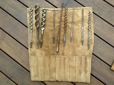 Antique Auger Drill Bits In Canvas Pouch. Various Sizes. Tools