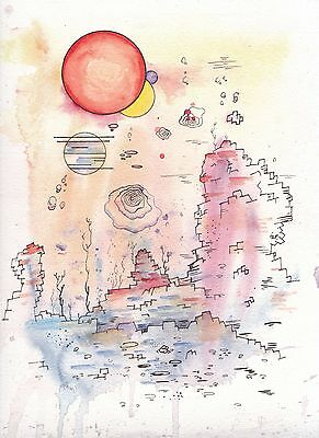 Original abstract desert sunset landscape watercolor painting signed by artist