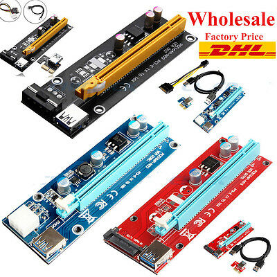50/100/200 USB 3.0 Pcie PCI-E Express 1xTo 16x Extender Riser Card Adapter Power