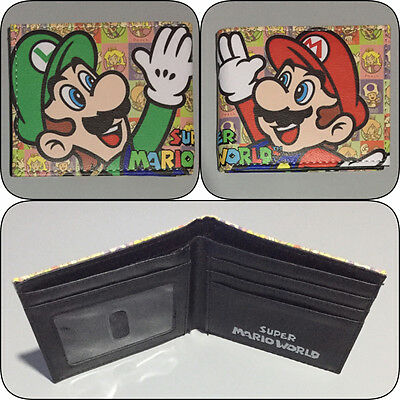Super Mario Bros World Bi-Fold Wallet Mens Boys Photo Bifold Nintendo Brothers