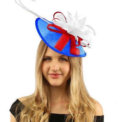 Handmade Feather Floral Headband Fascinator Disc Millinery Cocktail Hat USA Flag