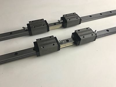INA LINEAR RAIL - KWVE 25 X 3100mm - 2 off with 4 carriages