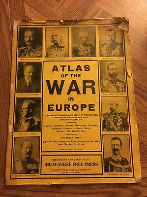 Vintage Atlas of the War in Europe George F. Cram Large Scale Maps 1914