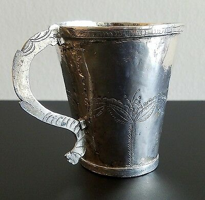 ANTIQUE 18th / 19th Century SPANISH COLONIAL SILVER HANDLED CUP