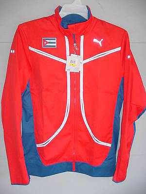 New! Puma Cuba 2016 Rio Olympics Red/blue Vent Thermo Running Jacket Sz Large