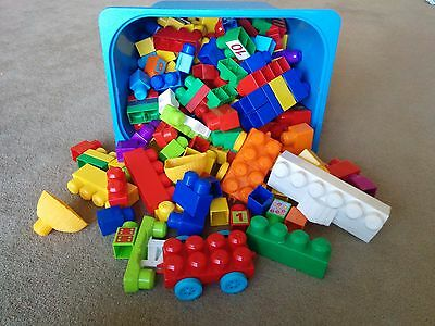 Huge tub box MEGA BLOKS building blocks cars toy baby kids USED bulk a lot