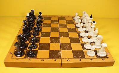 1960's BAKELITE TYPE PLASTIC CHESS SET WITH BOARD USSR SOVIET ERA