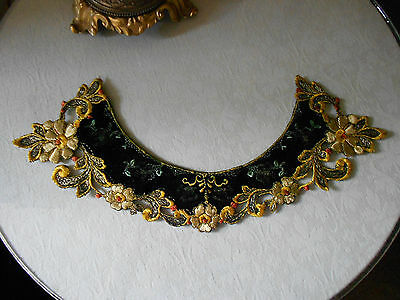 Beautiful Antique Edwardian Black Velvet Embroidered Collar