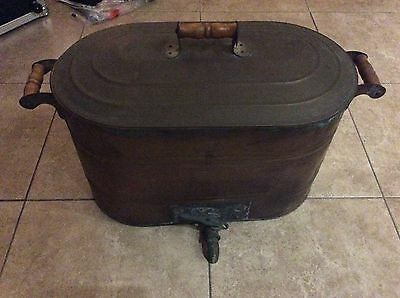 Antique REVERE Copper Canning Steamer Boiler Wash Tub & Lid with faucet