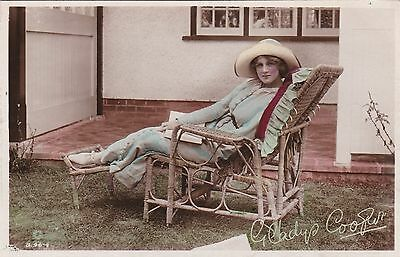 Old Postcard Glamour Actress Gladys Cooper Wicker Chair Facsimile Signed 1910S
