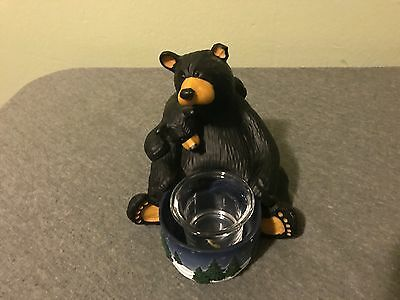 "Bearfoots Bears by Jeff Fleming ""Light My Fire"" Candle Holder Big Sky Carvers!"