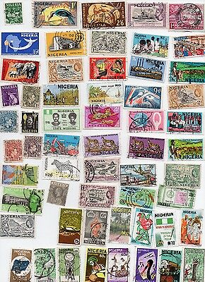 NIGERIA 60 Stamps all different and off paper