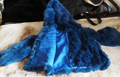 Childs Rabbit Fur Coat - A Gorgeous Blue Fully Lined Small Childs Fur Coat