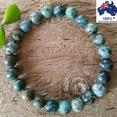 AFRICAN TURQUOISE Natural Gemstone CRYSTAL HEALING Chakra Bead Stone Bracelet
