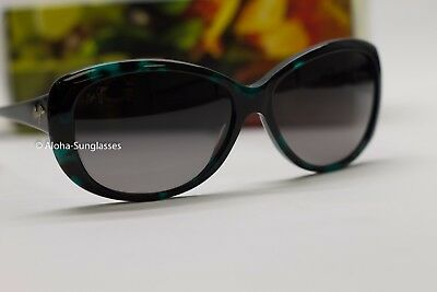 NEW Maui Jim Pikake Wmen POLARIZED Sunglas Cat Eye Light Grey Lens Emerald Black