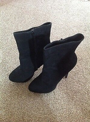 OFFICE Black Suede Ankle Boots. Stiletto. Size 7.5
