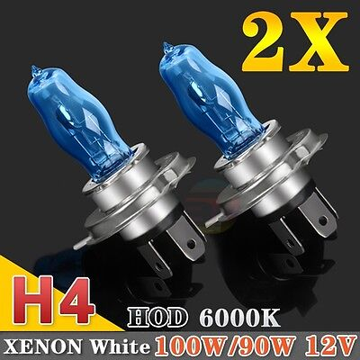 2x H4 100/90W Headlight Globes Car Light Bulbs 6000K 12V Xenon Lamp Super White
