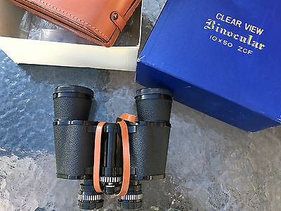 Vintage Clearview 10 X 50 Field Binoculars With Carry Case In Original Box