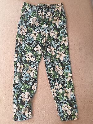 New Look Womens Ladies Beach Summer Floral Trousers Size 8