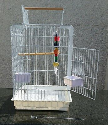Bird Cage, Opening Top + Accessories. Parrot/parakeet. White Metal. Very Good