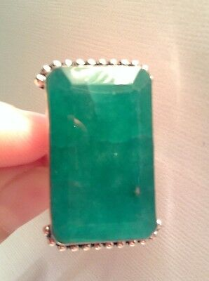 Big 50 Ct Natural Mined Colombia Emerald Ring, 925Sterling Silver Ring, Filigree