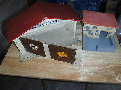 Vintage Shell Filling Station And Pig Sty Both Wooden