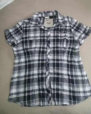 Harley Davidson Womens Short Sl Shirt Black/white check Size L NWT