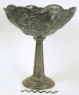 Antique Repousse Silver Art Nouveau Derby Silverplate Footed Compote Bowl (HH)