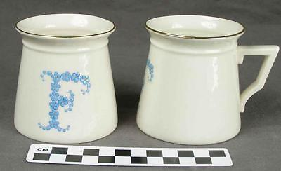 "2 Antique WH Goss Porcelain Forget-Me-Not Initial Letter ""F"" Child's Mugs Cup HH"