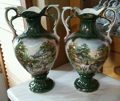 Pair Of Vintage/Antique Staffordshire Pottery Vases stamped ETNA
