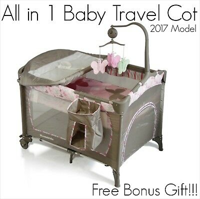 BRAND NEW ALL in 1 Pink Baby Travel Cot Portable Portacot Foldable Playpen