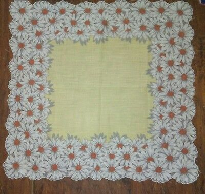 "Large 15"" Hanky daisies on yellow all cotton"