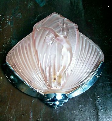 Pair of Pink Art Deco Wall Lights signed Nesdam