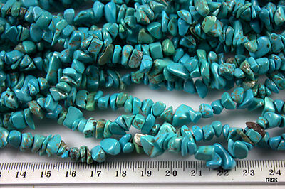 BL035 - Natural Dyed Turquoise Gemstone Chips - Blue - 8x5mm x 1 strand - 63g