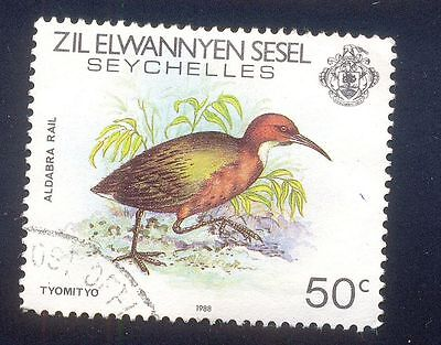 Seychelles 50C Used Stamps A24298 Aldabra Rail Bird
