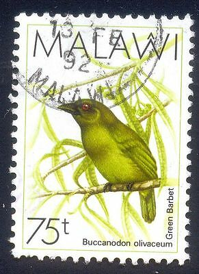 Malawi 75T Used Stamps A25622 Green Barbet Bird