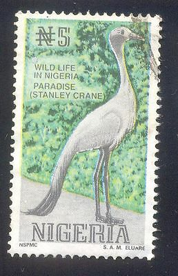 Nigeria 5N Used Stamps A25112 Wild Life Paradise Stanley Crane Bird