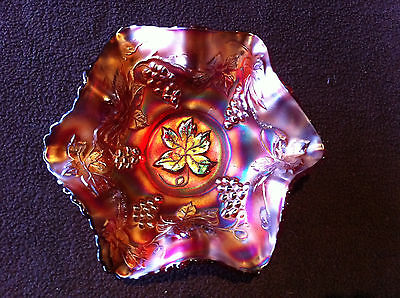 Carnival Glass Rare Fenton Vintage Red Bowl