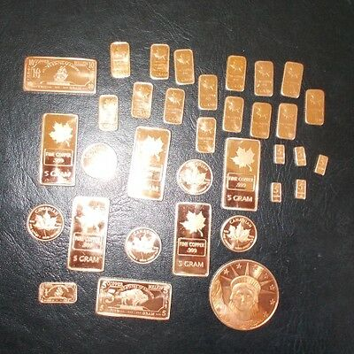 34 COPPER   Collection INCLUDES  LARGE  bullion bars