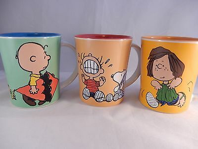 Peanuts Mugs Charlie Brown Peppermint Patty Linus Snoopy Lot of 3
