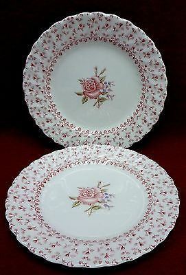 JOHNSON BROTHERS china ROSE BOUQUET pattern Set of Two (2) Bread Plates - 6-1/4""